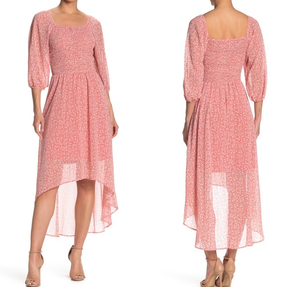 Cottage Core Smocked Flowy High/Low Dress